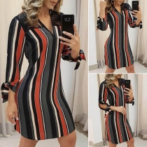 OL Style 3/4 Sleeve V-neck Hollow Out Striped Dress