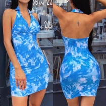 Sexy Backless V-neck Tie-dye Printed Slim Fit Halter Dress