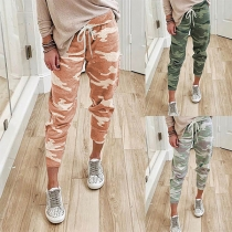 Fashion Camouflage Printed Drawstring Waist Casual Pants