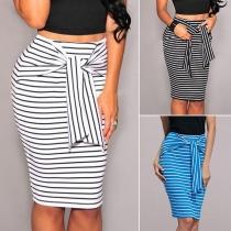 Fashion Lace-up High Waist Slim Fit Striped Skirt