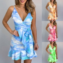 Sexy Backless V-neck Ruffle Hem Tie-dye Printed Sling Dress