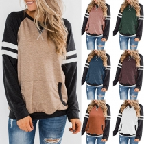 Fashion Contrast Color Long Sleeve Round Neck Sweatshirt