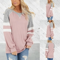 Casual Style Long Sleeve Round Neck Contrast Color T-shirt