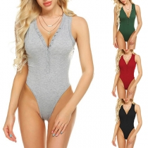 Sexy Deep V-neck Sleeveless Solid Color Bodysuit
