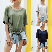 Casual Style Short Sleeve Round Neck Slit Hem Solid Color T-shirt