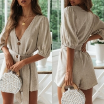 Sexy Deep V-neck Half Sleeve Solid Color Romper with Waist Strap