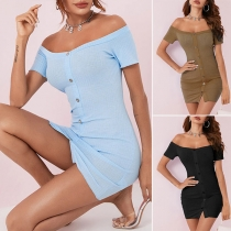 Sexy Off-shoulder Boat Neck Short Sleeve Front-button Slim Fit Dress