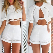 Sexy Backless Tassel Hem Crop Top + Shorts Two-piece Set