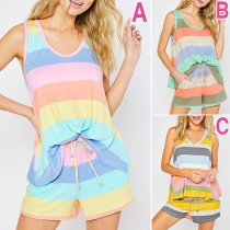 Fashion Sleeveless V-neck Striped Top + Shorts Two-piece Set