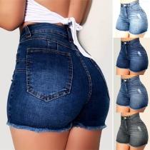 Fashion High Waist Slim Fit Ripped Denim Shorts