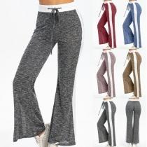 Fashion Contrast Color High Waist Flared Hem Sports Pants