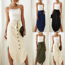 Fashion Solid Color High Waist Slit Hem Front-button Skirt