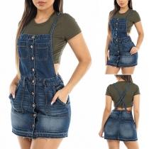 Fashion High Waist Slim Fit Front-button Denim Suspender Skirt