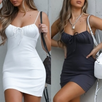 Sexy Backless Solid Color Slim Fit Sling Mini Dress