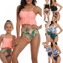 Sexy High Waist Ruffle Hem Printed Parent-child Bikini Set
