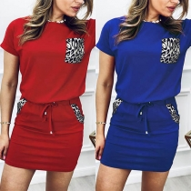 Fashion Leopard Spliced Short Sleeve T-shirt + Skirt Two-piece Set