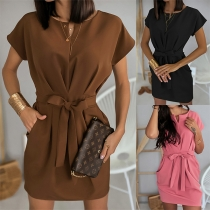 Elegant Solid Color Short Sleeve Round Neck Dress with Waist Strap