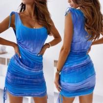 Fashion Sleeveless Round Neck Side-drawstring Tie-dye Printed Dress