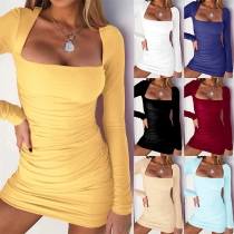 Sexy Square Collar Long Sleeve Solid Color Slim Fit Dress