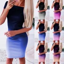 Fashion Color Gradient Short Sleeve Round Neck Slim Fit Dress