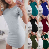 Simple Style Short Sleeve Round Neck Solid Color Slim Fit Dress