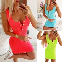 Fashion Solid Color Sleeveless U-neck Slim Fit Tank Dress