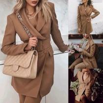 OL Style Long Sleeve Lapel Solid Color Slim Fit Suit Coat