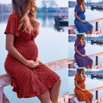 Sexy V-neck Short Sleeve Ruffle Hem Dots Printed Maternity Dress