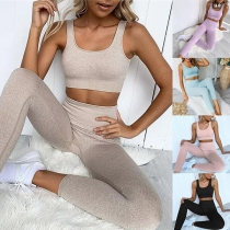 Sexy Solid Color Sports Crop Top + Leggings two-piece Set