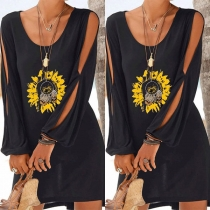 Fashion Slit Long Sleeve Round Neck Sunflower Printed Dress