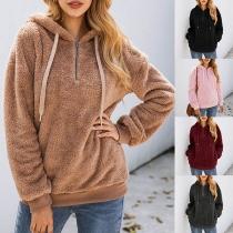 Fashion Long Sleeve Hooded Plush Sweatshirt