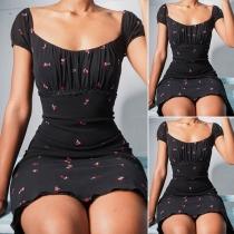 Fashion Short Sleeve Square Collar Slim Fit Printed Dress