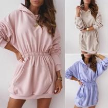 Fashion Solid Color Long Sleeve Hooded Elastic Waist Sweatshirt Dress