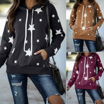 Fashion Long Sleeve Hooded Star Printed Sweatshirt