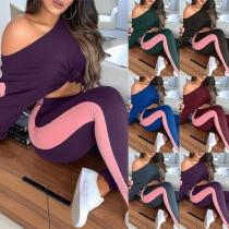 Modernes Zweiteiliges Set mit Kontrastierenden Farben bestehend aus einem Top mit Langen Ärmeln + Leggings