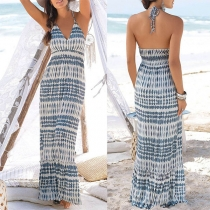 Sexy Backless V-neck High Waist Printed Halter Dress
