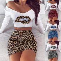 Sexy Leopard Spliced Long Sleeve Crop Top + Skirt Two-piece Set