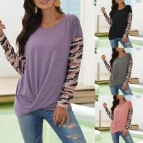 Fashion Camouflage Spliced Long Sleeve Round Neck Crossover Hem T-shirt