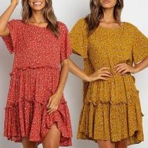 Bohemian Style Short Sleeve Round Neck Printed Dress