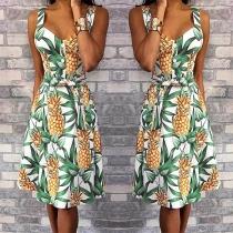 Sexy Backless V-neck High Waist Pineapple Printed Sling Dress