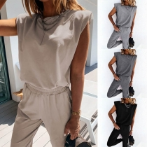 Fashion Solid Color Sleeveless Top + Pants Two-piece Set