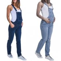 Fashion High Waist Maternity Denim Overalls
