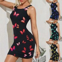 Fashion Butterfly Printed Sleeveless Round Neck Slim Fit Tank Dress