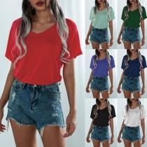 Fashion Solid Color Short Sleeve V-neck Slit Hem T-shirt