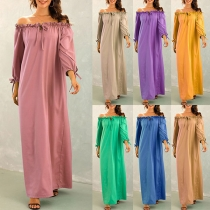 Fashion Solid Color Long Sleeve Boat Neck Loose Dress