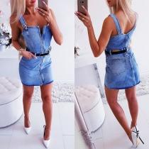 Sexy Backless Front-zipper Slim Fit Sling Denim Dress