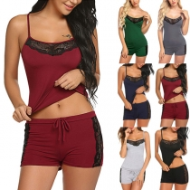 Sexy Backless V-neck Lace Spliced Sling Top + Shorts Nightwear Set