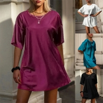 Simple Style Short Sleeve Round Neck Solid Color Loose T-shirt Dress