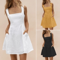 Sexy Backless Square Collar High Waist Solid Color Dress