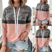 Fashion Printed Spliced Long Sleeve Hooded Sweatshirt